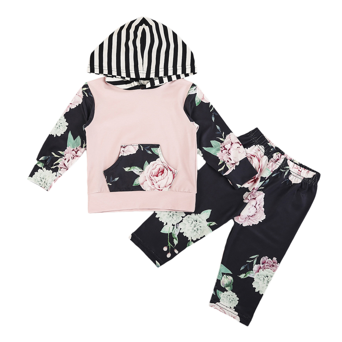 2pcs Newborn Toddler Baby Boy Girl Hooded Sweater Top+Pant Outfits Set Clothes