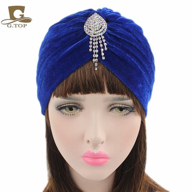 New Fashion Women jeweled pendant Turban Soft Velvet Turban Headband  Knitted Head Wrap Indian Style Beanie Hat Turbante 9c446197942