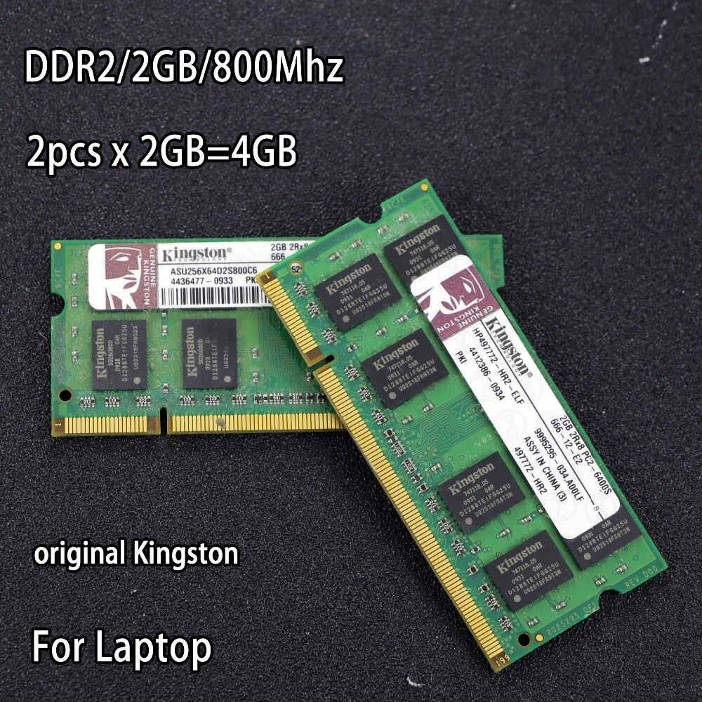 Original de Kingston DDR2 2 GB 800 MHz 667 MHz 800 PC2-6400 DDR 2x2G 4 GB notebook memoria portátil RAM 200PIN SODIMM para intel para amd