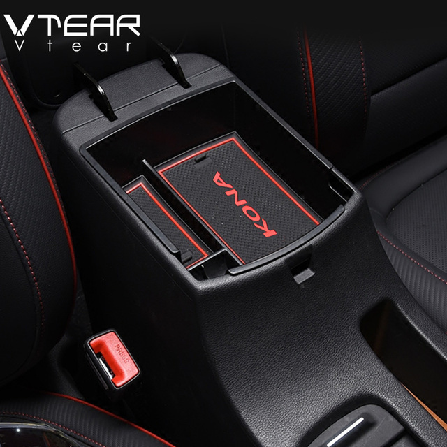 Vtear For Hyundai Kona Encino 2018 Accessories Armrest Storage Box Center  Console Container Bin Tray Holder