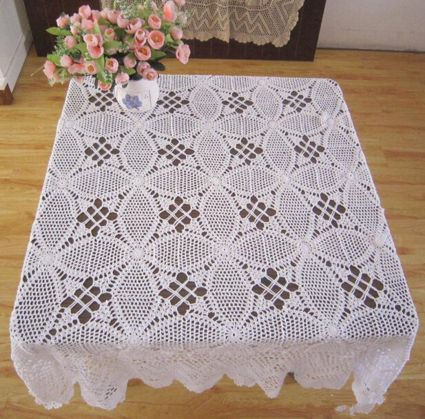 Beau Free Shipping White Crochet Square Lace Table Cloth Beige Floral Pattern  Tablecloths Hollow Out Table Overlays In Tablecloths From Home U0026 Garden On  ...
