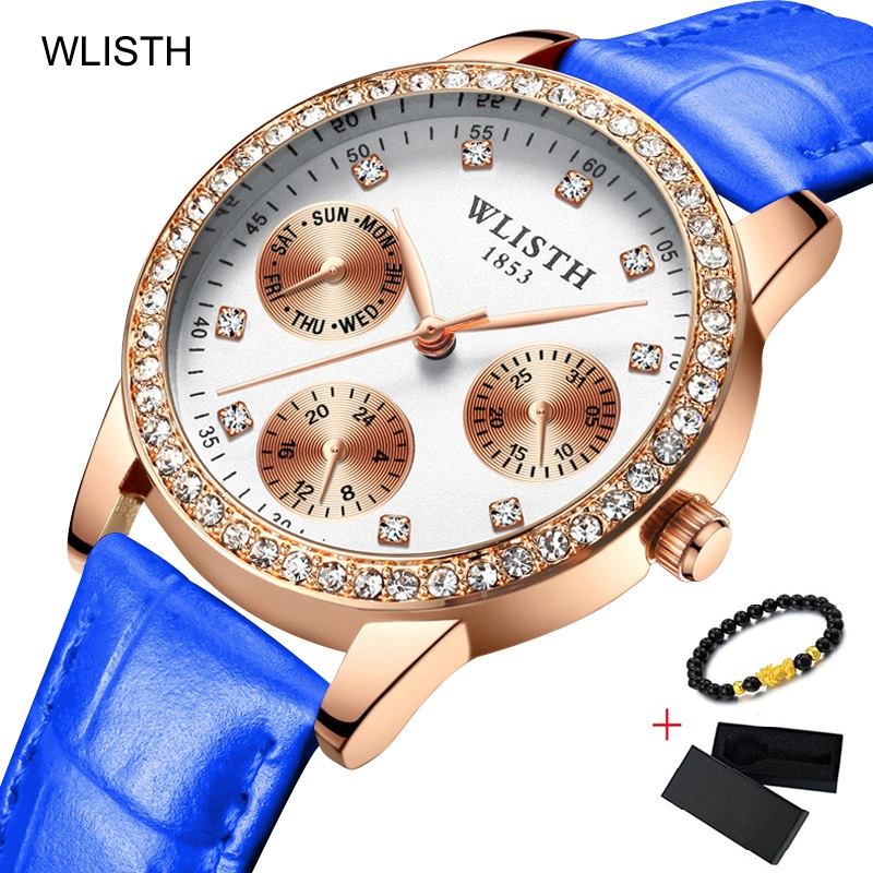 WLISTH Diamond Women Bracelet Watches Luxury Rose Gold Ladies Wrist Watch Female Dress Clock Display Week Date reloj mujer 2019