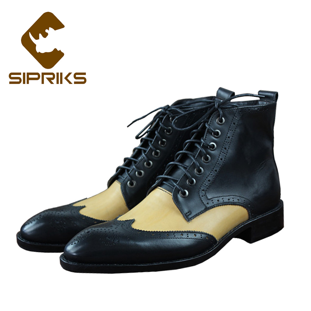 Sipriks Luxury Italian Handmade Goodyear Welted Boots Imported Leather Dress Boots Business Work Office Boots Wingtip