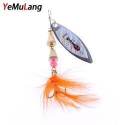 YeMuLang 1 pièce En Métal De Pêche Leurre Dur Cuillère Avec Plumes Treble Crochet Souple Peche S'attaquer Pour La Pêche