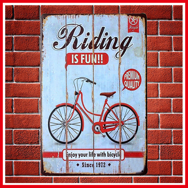 New Vintage RIDING IS FUN Metal Signs Home Decor Vintage Tin Signs Pub  Vintage Decorative Plates