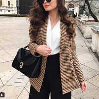 Moda Otoño mujeres Plaid Blazers y chaquetas trabajo Oficina señora traje Delgado doble Breasted negocios mujer Blazer abrigo Talever