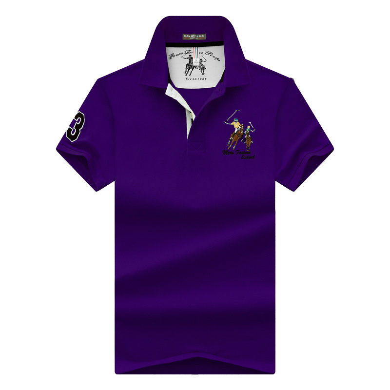 Image 3 - Men's POLO Shirts Brand Cotton Short Sleeve Camisas solid embroidery Polo Summer Stand Collar Male Polo Shirt plus size 4XL-in Polo from Men's Clothing