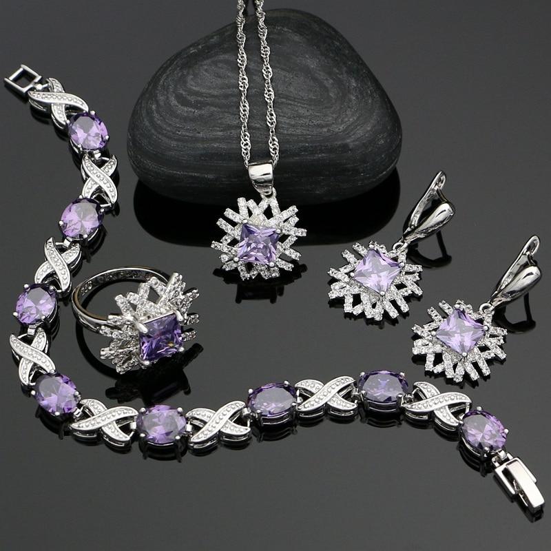 Jewelry-Sets 925-Silver-Dubai Wedding Americans Purple Cubic-Zirconia Women White CZ