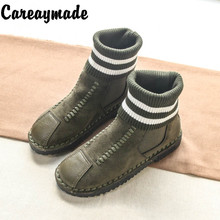 Careaymade-New style soft soles short short socks shoes, warm socks and handmade boots,the retro art mori girl Flats boots