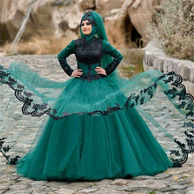 Turquoise Arabia Muslim Evening Dress with Long Sleeve Black Lace Hijab Ball Gown Evening Gowns Dubai abiye vestido de noche
