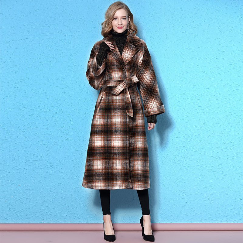 Plaid 2017 Women Coats Long Winter Cashmere Wool Jacket Cloak Fall Fashion Tweed Jackets ...