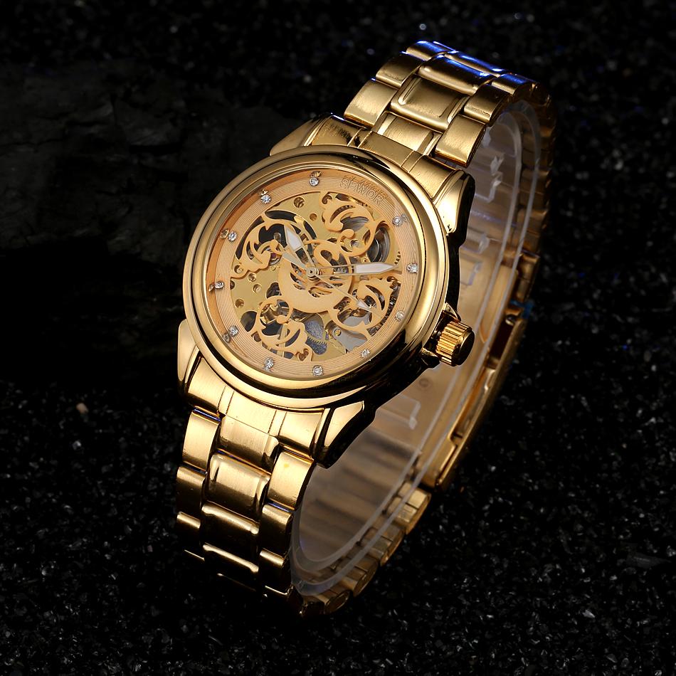 Prix pour Sewor marque de luxe montre homme or inoxydable mécanique automatique montre squelette en acier robe montre-bracelet hommes mode sport montre