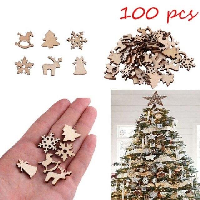 100 pz Naturale di legno FAI DA TE albero Di Natale Appeso Ornamenti Ciondolo Re