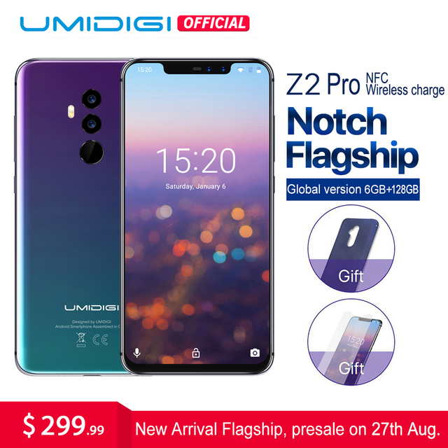 "UMIDIGI Z2 Pro 6.2""Full screen smartphone Android 8.1 6GB+128GB Helio P60 16MP Quad Lens 4G LTE NFC Wireless charge Mobile phone"