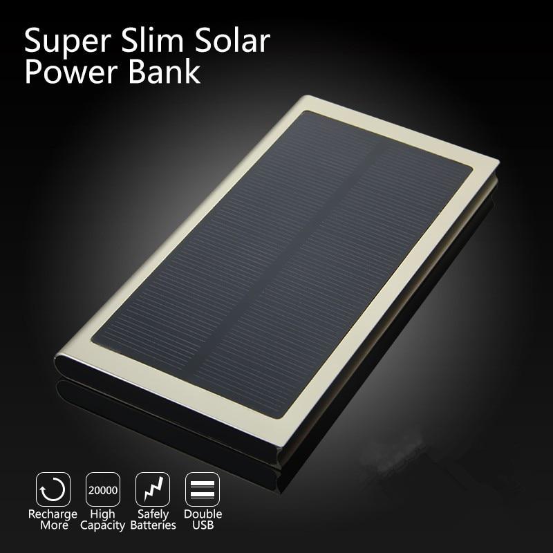 imágenes para Delgada Cáscara de la Aleación Dual USB Powerbank Externa de La Batería Solar Luces LED Cargador Portátil Power Bank Envío Gratis