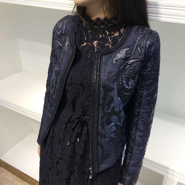 2018 Autumn Women Short Leather   Jacket   O-Neck Stitching PU Washed Denim   Jacket   Retro Slim   Basic     Jacket   Coat