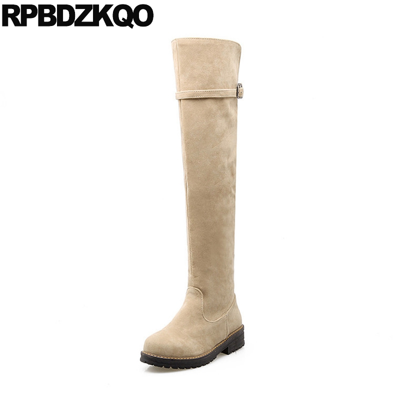 все цены на Plus Size Riding Long Round Toe Shoes Suede Over The Knee Thigh High Boots For Women Ladies Beige Low Heel Equestrian 10 Slip On