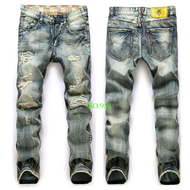 High quality men's jeans Casual straight hole jeans men balmai jeans men  denim trousers  jeans