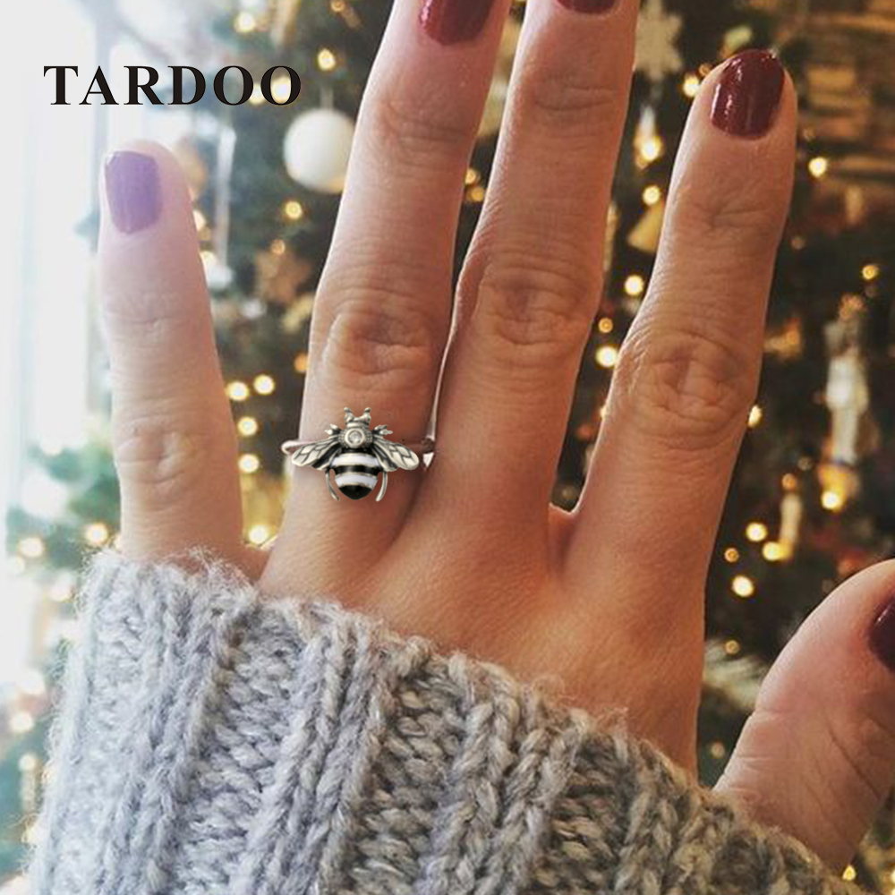Tardoo Zircon Bee Cuff Rings 925 Silver Cute Honeybee Ring Fashion Jewelry For Women White Strips Lovely Bee Party Open Ring cute solid color cat s claw cuff ring for women