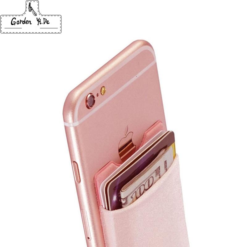 Elastic Lycra Cell Phone Wallet Case Credit ID Card Holder Pocket Stick On 3M Adhesive Black/Gray/Pink/Golden/Green/Blue/Brown Сотовый телефон