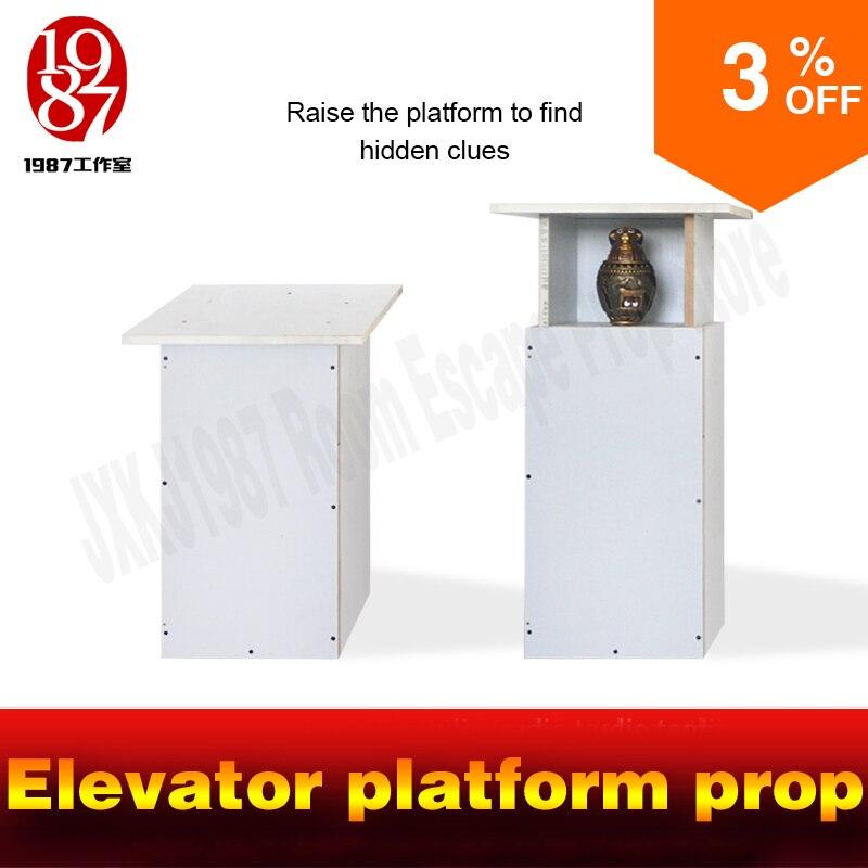 Évasion aventurier jeu prop Ascenseur plate-forme bois boîte avec push rob soulevées à obtenir des indices évasion accessoires jxkj1987 room escape organe