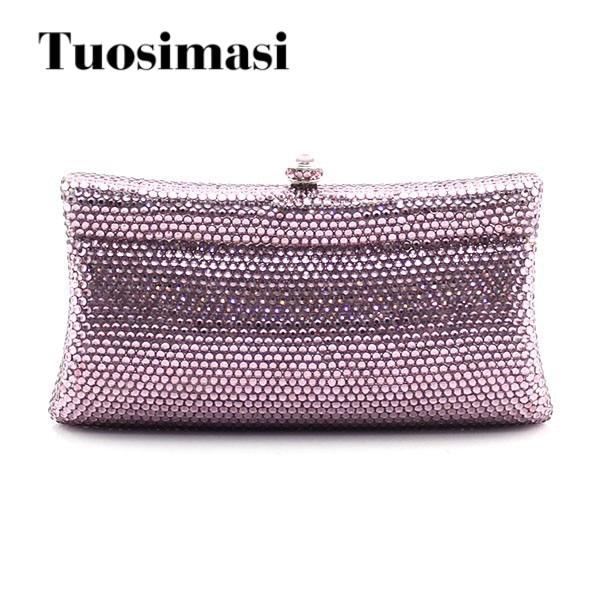 Luxury handmade full diamond crystal clutch bag light purple elegant women purses handbags luxury crystal clutch handbag women evening bag wedding party purses banquet