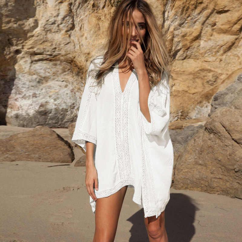 Pareo חוף טוניקת נשים ללבוש נשים ביקיני כיסוי עד שמלת חלוק רחצה הקיץ 2019 תחרה ביקיני חולצה גודל רופף אישה מוצק