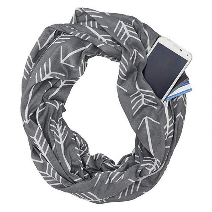 Convertible Winter Infinity Scarf With Side Zipper Pocket