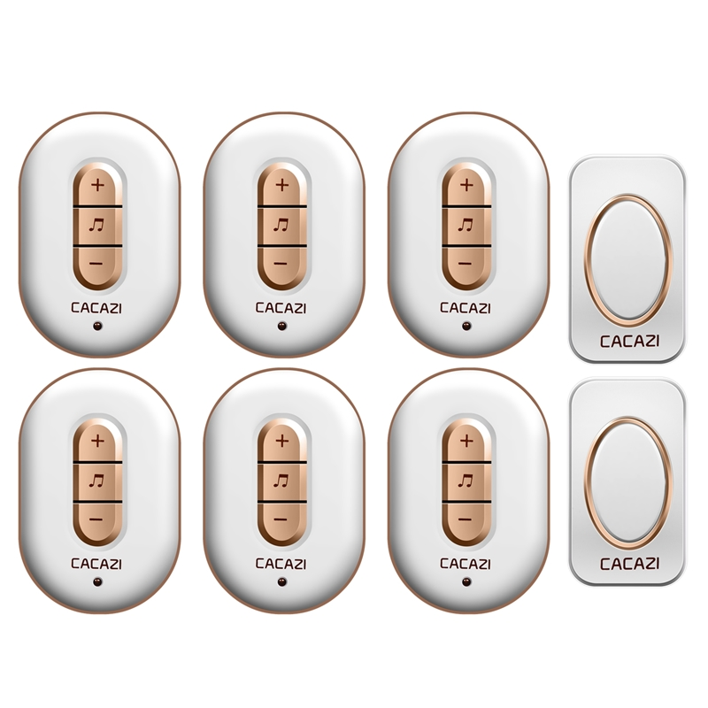 CACAZI Wireless doorbell AC 110-220V 2 waterproof buttons+6 plug-in receivers 280M remote door bell 48 rings 6 volume door chime cacazi ac 110 220v wireless doorbell 1 transmitter 6 receivers eu us uk plug 300m remote door bell 3 volume 38 rings door chime