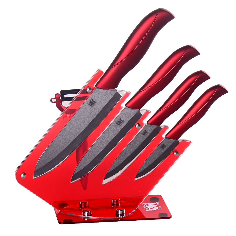 Red Knife Stand Kitchen Tools With Ceramic Peeler + 3, 4