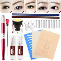 Eyebrow Microblading Kit Manual Tattoo Pen Ruler Practice Skin Needle Blade Pigment Ink Ring For Beginners