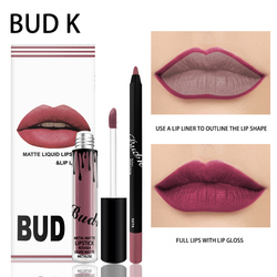 BUD K 2pcs/set Matte Liquid Tint lipstick+lips pencil Makeup Long Lasting Waterproof lip gloss Kilie Cosmetics kit Batom