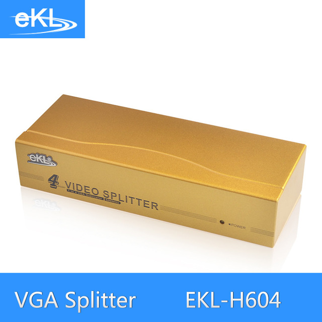EKL 4 Port VGA Splitter Metal 600MHz High Frequency 1 In 4 Out VGA Distributor