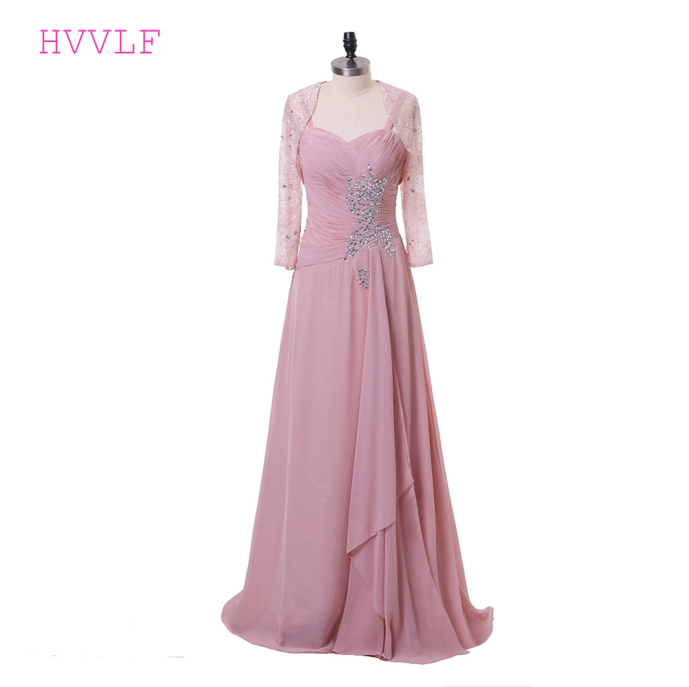 Pink 2019 Mother Of The Bride Dresses A-line Spaghetti Straps Chiffon Crystals With Jacket Groom Long Mother Dresses For Wedding