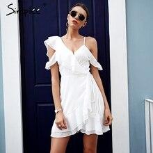 Simplee الكشكشة الباردة الكتف فستان أبيض المرأة عالية الخصر التفاف فستان من الشيفون vestidos الشارع الشهير حزام فستان صيفي غير رسمي 2018