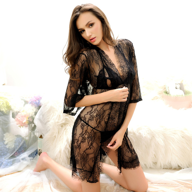 Sexy 3pcs Womens Nightwear Set Bra+G-String+Coat Robe Sexy Woman Sleepwear High Quality Lace Nightgown Ladies Nightgowns