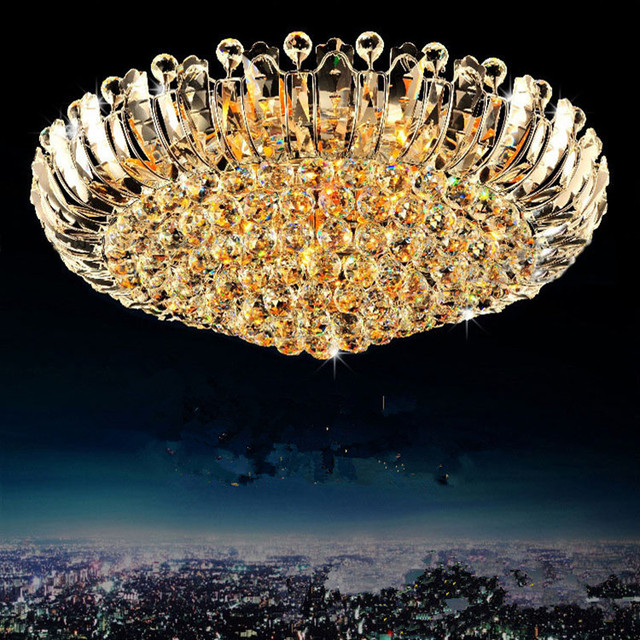 "24""/32""/40"" Large surface crystal ceiling lights led Lamparas De Techo hotel living room modern round led ceiling lights Abajur"