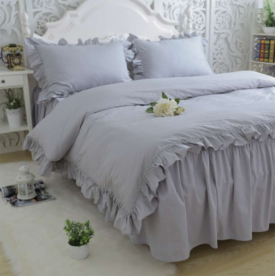 Ruffle Fairyfair Pure Gray Bedding Set Cotton Twin Full