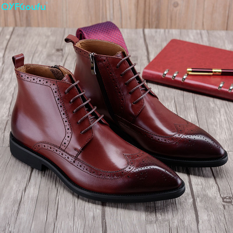 QYFCIOUFU Pointed Toe Genuine Leather Chelsea Boots Men Luxury Fashion Brogues Martin Boots Men Business Ankle Dress Boots ShoesQYFCIOUFU Pointed Toe Genuine Leather Chelsea Boots Men Luxury Fashion Brogues Martin Boots Men Business Ankle Dress Boots Shoes