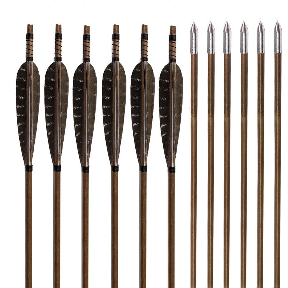 6 pcs artesanal de bambu setas caca tiro com arco flecha faisao pena alvo ponto seta