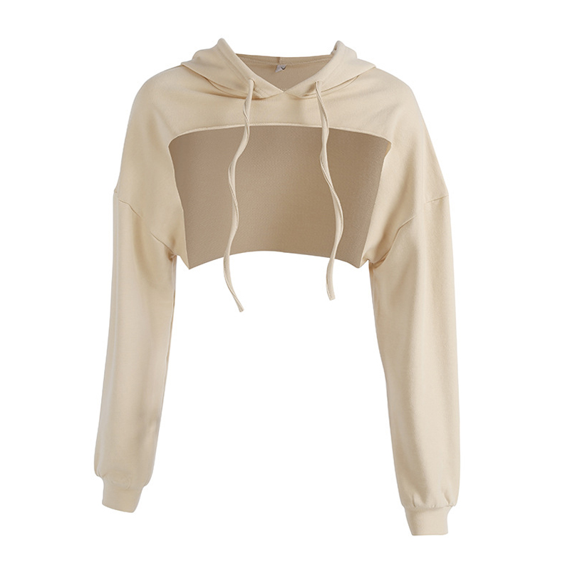 Hoodies Women Hollow Out Long Sleeve Hoodie Pullover Sweatshirt Casual Hooded Summer Short Tops