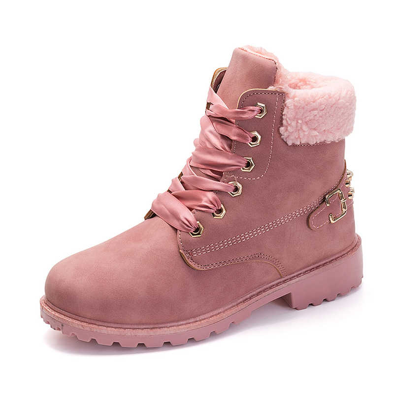 7f37becc9faad New Pink Women Boots Lace up Casual Ankle Boots Round Toe PU Women Shoes  winter warm
