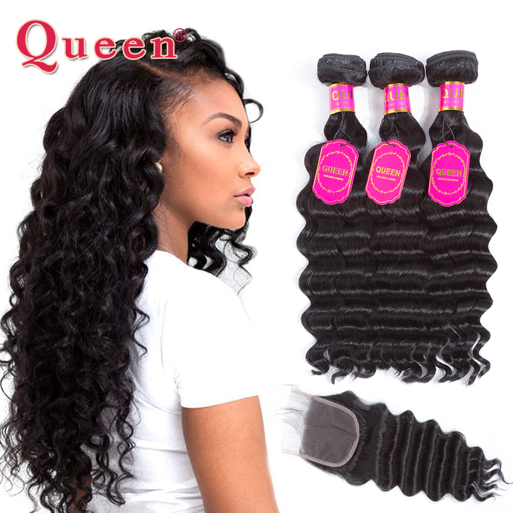 Queen Hair Products Loose Deep Wave Brazilian Hair Weave Bundles With Closure Brazilian Virgin Human Hair