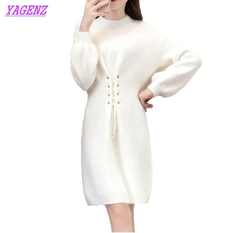 Nouvelle robe en tricot automne hiver femmes taille élastique couverture pull robe jeunes femmes demi-haut col sauvage fond robe B550