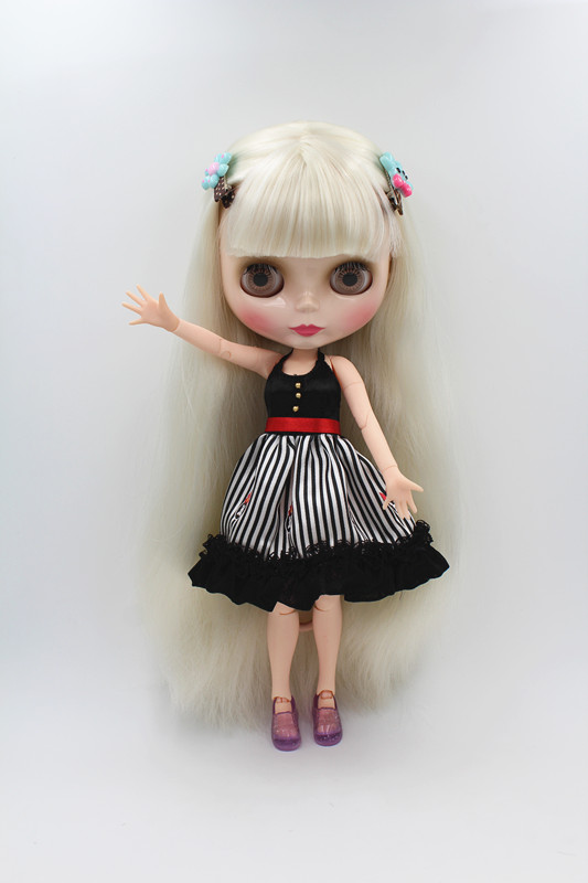 Blygirl Doll White Fringe cheveux Corps mixte Blyth Doll Fashion peut changer le maquillage