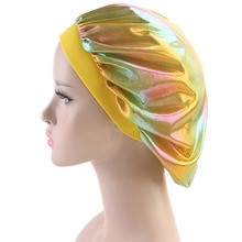 Women Faux Silk Bonnet Wide Band Soft Sleep Cap Glitter Reflective Rainbow Colorful Head Covering Ruched Hair Loss Chemo Cap