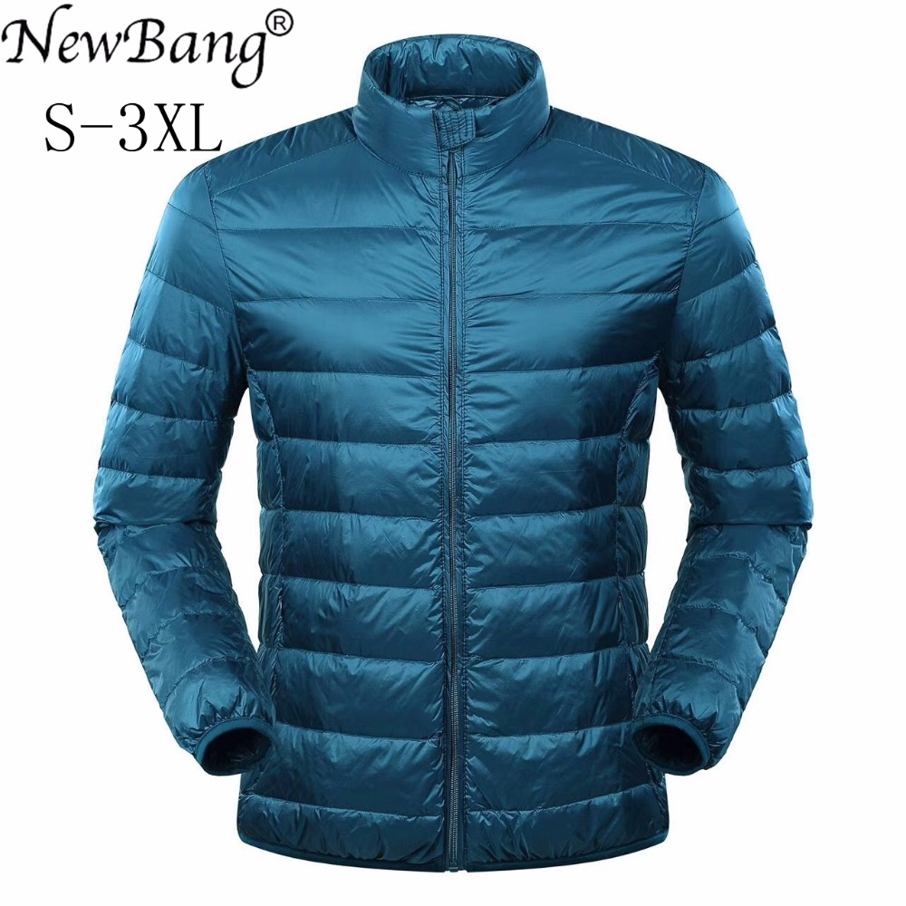 Newbang Перо куртка человек ультра легкая зимняя куртка-пуховик Для мужчин зимнее пальто утка Подпушка ветровка Стенд воротник куртка с сумка