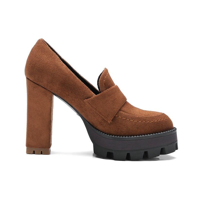 Esveva Taille Talon De Apricot Femmes Mariage Chaussures Bureau Grande 2018 Style Hauts Talons Pompes Occidental 34 42 Dames Plate À forme jaune noir Carré UAUzw1qar