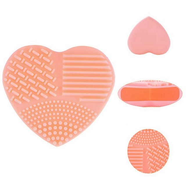 Heart Shaped Silicone Makeup Brush Cleaner Board