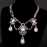 Exquisite Maxi Statement Bridal Necklaces Women White Gold 585 Plated CZ Diamond Jewelry Vintage Chain Collier